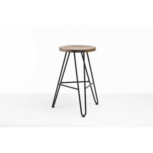 """12"""" X 12"""" X 24"""" Charcoal Ash Wood And Steel Round Counter Bar Stool"""