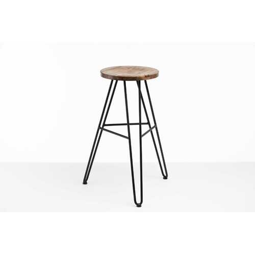 """12"""" X 12"""" X 30"""" Charcoal Ash Wood And Steel Round Bar Stool"""
