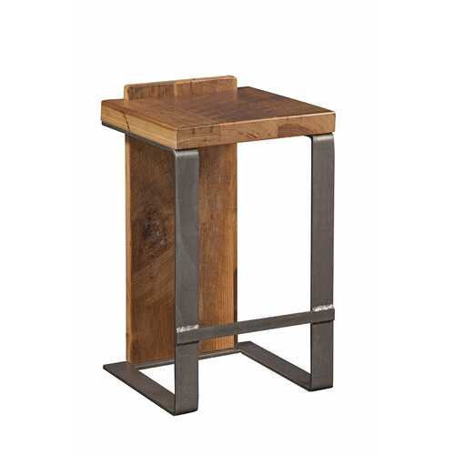 """16"""" X 14"""" X 24"""" Natural Reclaimed Oak And Steel Stool"""