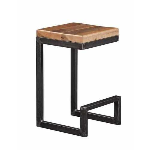 """14"""" X 15"""" X 24"""" Natural Reclaimed Oak And Steel Stool"""