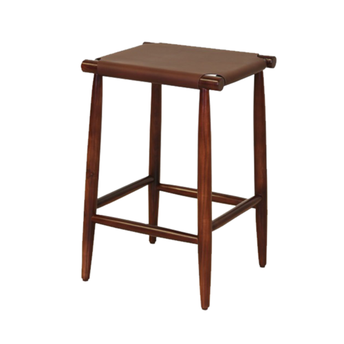"""17"""" X 15.5"""" X 25.5"""" Brown  Wood Leather Counter Stool"""
