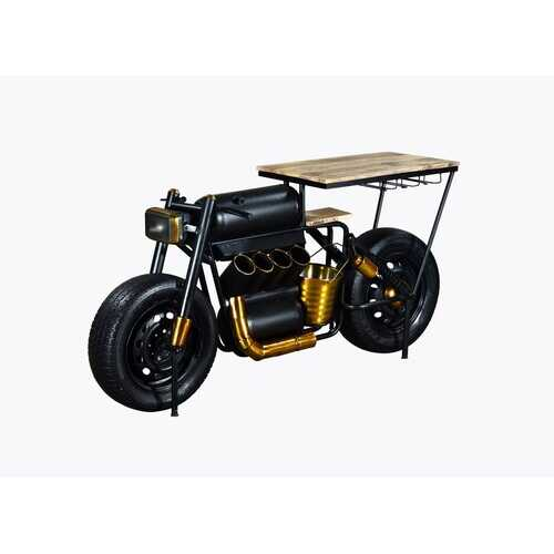 "17"" X 70.5"" X 33"" Black and Gold Motorcycle Wine Bar"