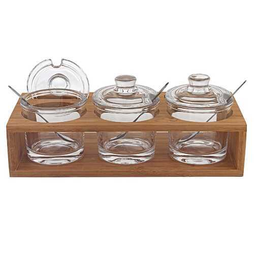 "6"" Mouth Blown Crystal Jam Set With 3 Glass Jars and Spoons on a Wood Stand"