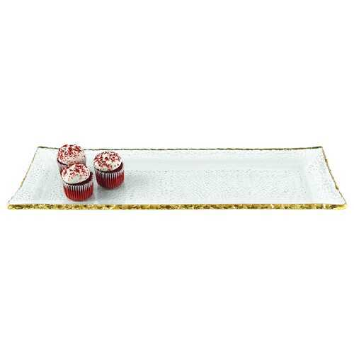 "18"" Mouth Blown Rectangular Edge Gold Leaf Serving Platter or Tray"