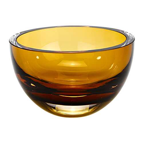 "6"" Mouth Blown European Made Lead Free Amber Crystal Bowl"
