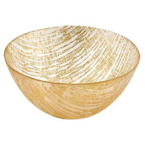 "11"" Hand Crafted Glass Gold Accent Salad or Serving Bowl"