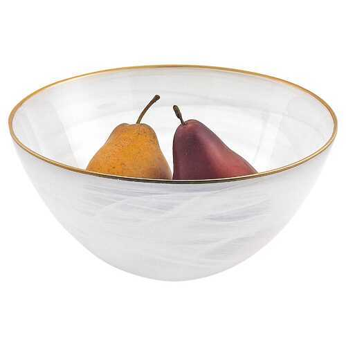 "10"" Hand Crafted White Gold Glass Fruit or Salad Bowl With Gold Rim"