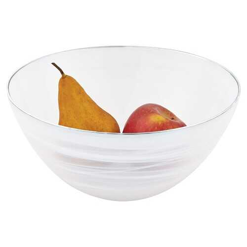 "10"" Hand Crafted White Silver Glass Fruit or Salad Bowl With Silver  Rim"
