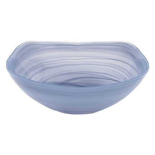 "10"" Hand Crafted Sky Blue Glass Squarish Salad or Serving Bowl"
