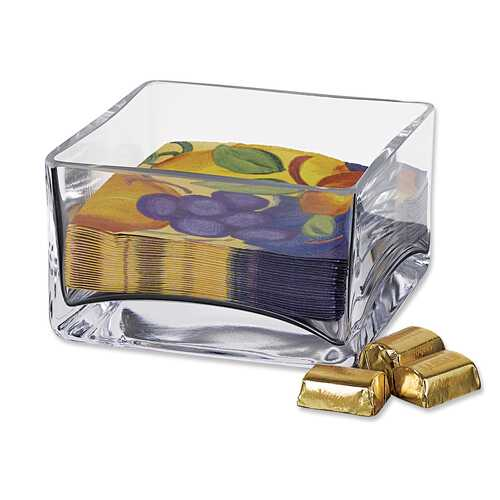 "5.5"" Mouth Blown Square Glass Bowl or Cocktail Napkin Holder"