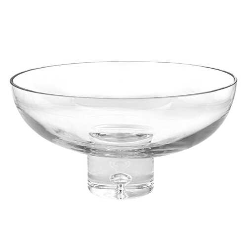 "11"" Mouth Blown Deep Pedestal Glass Centerpiece Bowl"