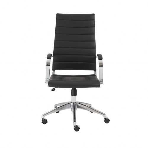 """22.25"""" X 27"""" X 45.25"""" High Back Office Chair in Black with Aluminum Base"""