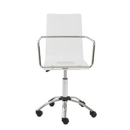 """20.52"""" X 22.01"""" X 39.49"""" Office Chair in Clear with Chromed Steel Base"""