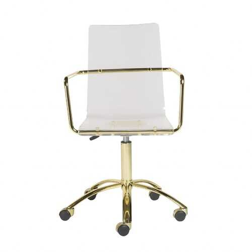 """20.52"""" X 22.01"""" X 39.49"""" Office Chair in Clear Acrylic with Gold Base"""
