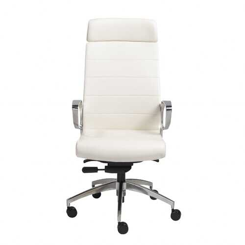 """22.45"""" X 25.99"""" X 48.43"""" High Back Office Chair in White with Polished Aluminum Base"""
