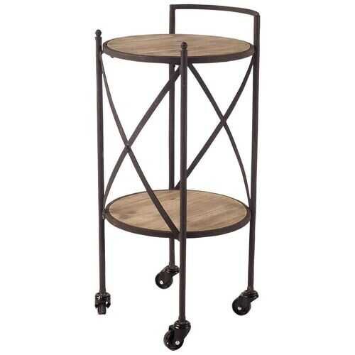 Compact Rustic Brown Round Rolling Bar Cart