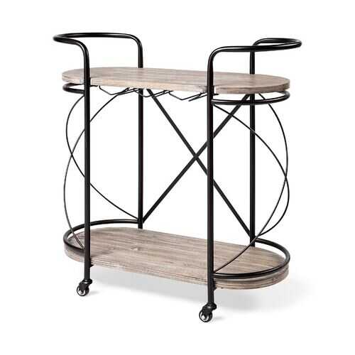 Cyclider Black Metal With Two Wooden Shelves Bar Cart