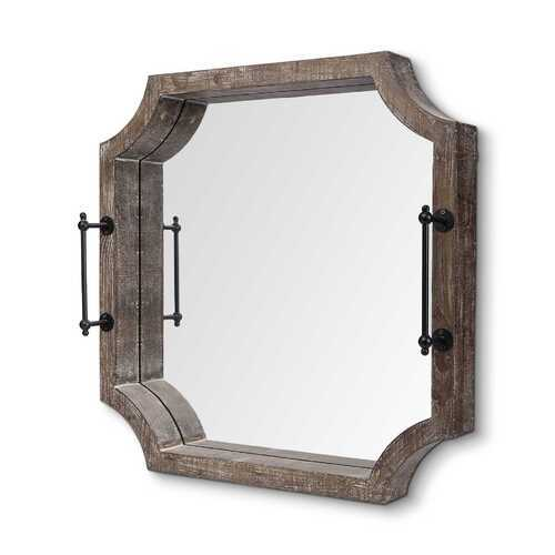 Rustic Antique Wash Finish Wood With Mirrored Glass Bottom And Metal Handle Tray