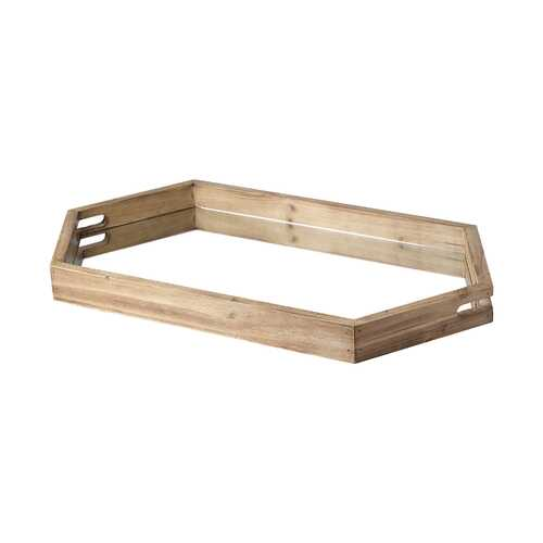 Natural Polished Wood Mirror Glass Lined Top Tray