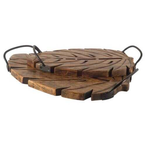 S/2 Brown Wooden Leaf With Sports Handle Trays