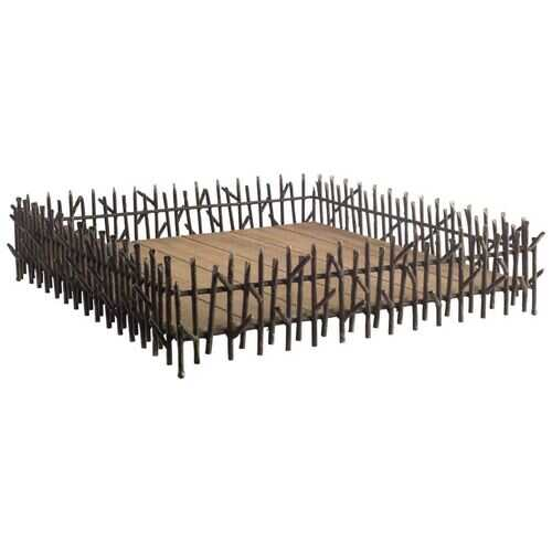 Natural Brown Wood With Metal  Twig-Like Side Rails Tray