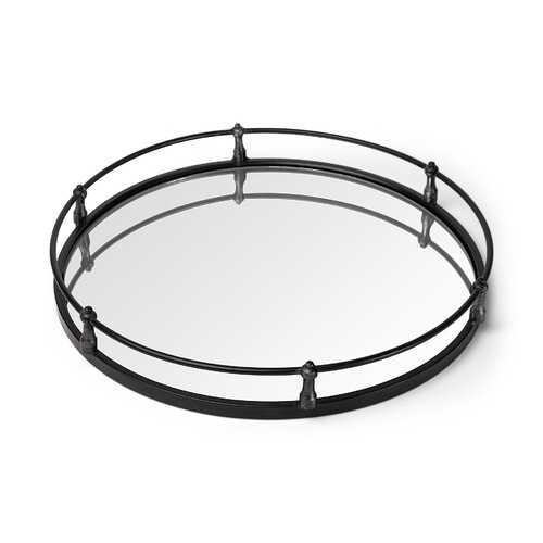 """24"""" Natural Finish Metal With Mirrored Glass Bottom Round Tray"""