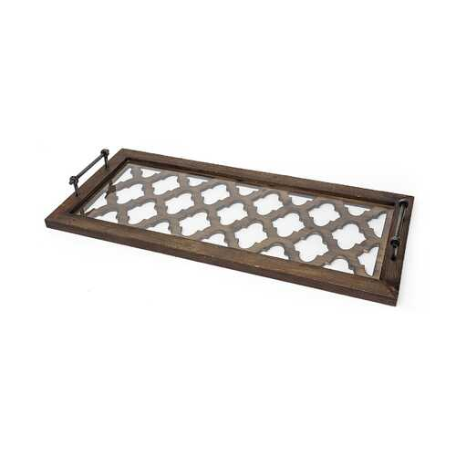 Medium Brown Wood With Metal Quatrefoil Pattern Glass Bottom Tray