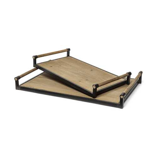 S/2 Light Brown Wood With Matte Black Metal Frame And Two Handles Trays