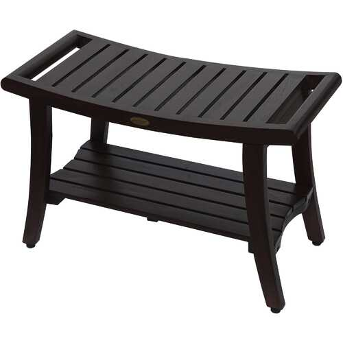 Compact Curvilinear Teak Shower / Outdoor Bench with Shelf and Liftaide Arms in Brown Finish