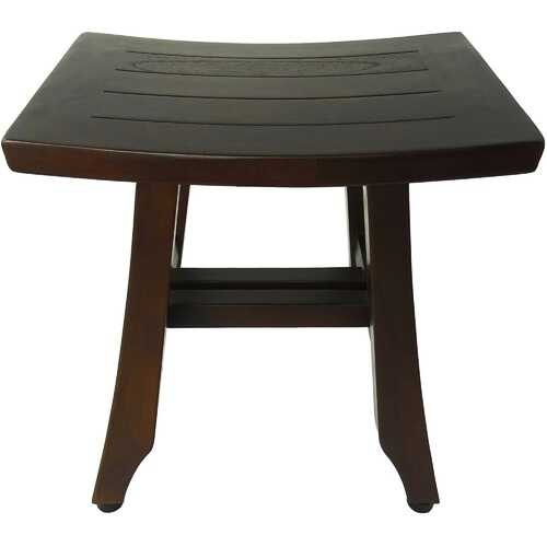 Compact Curvilinear Teak Shower or Outdoor Bench in Brown Finish