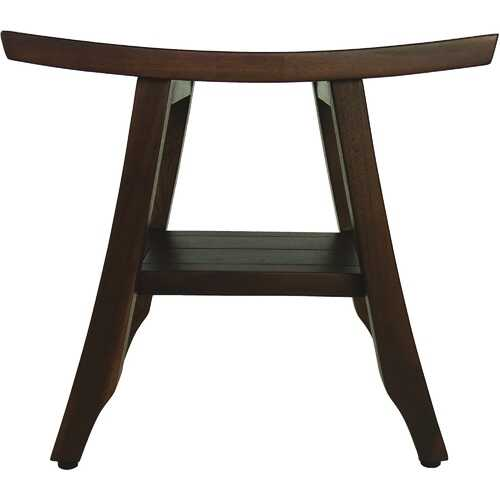 Compact Curviliniear Teak Shower / Outdoor Bench with Shelf in Brown Finish