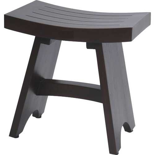 Compact Contemporary Teak Shower Stool in Brown Finish