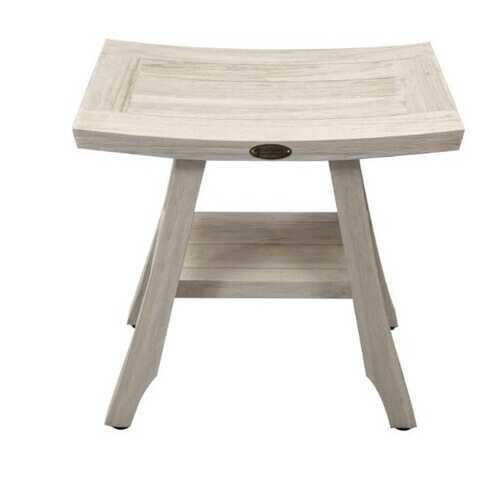 Compact Curvilinear Teak Shower / Outdoor Bench with Shelf in Driftwood Finish