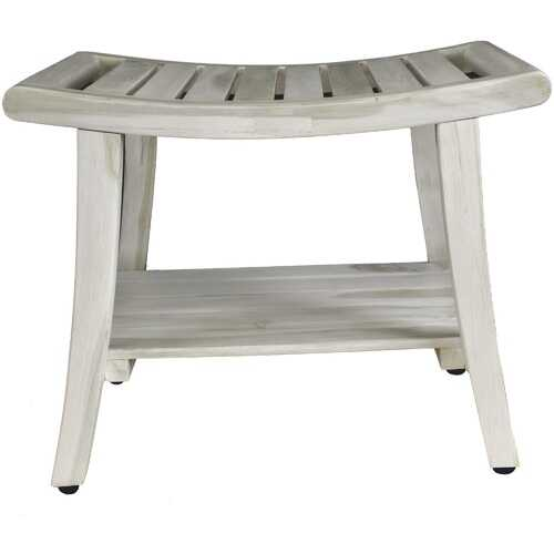 Compact Curviliniear Teak Shower / Outdoor Bench with Shelf in Driftwood Finish