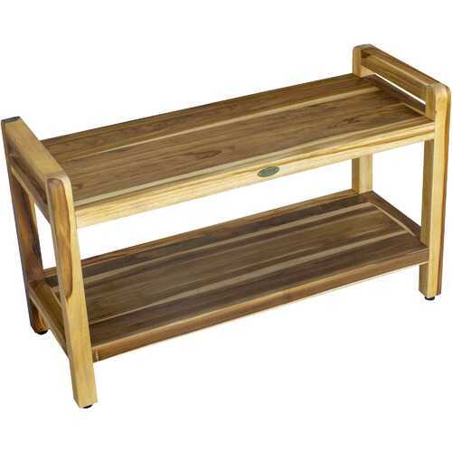 Compact Curviliniear Teak Shower / Outdoor Bench with Shelf and Liftaide Arms in Natural Finish