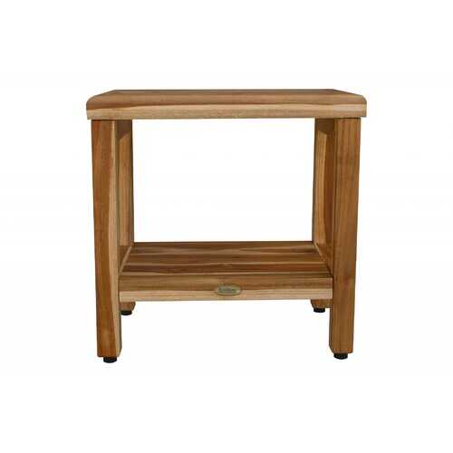 Compact Curvilinear Teak Shower / Outdoor Bench with Shelf in Natural Finish