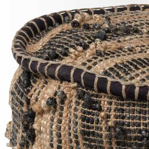 Tan Jute Cylindrical Pouf with Popcorn Stich