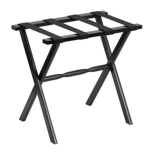 Black Wood Straight Leg Luggage Rack with 4 Fine Black Nylon Straps