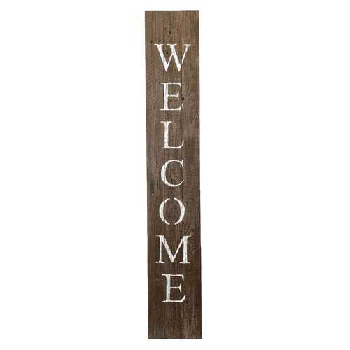 Rustic Espresso Brown and White Front Porch Welcome Sign