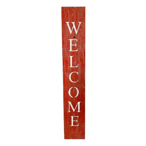 Rustic Red and White Front Porch Welcome Sign