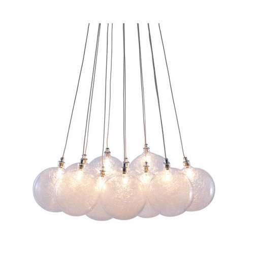 "17.7"" X 17.7"" X 39.4"" Clear Glass Chrome Ceiling Lamp"