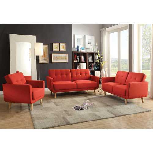 Chair, Red Linen - Linen, Pine Wood, Frame: Red Linen