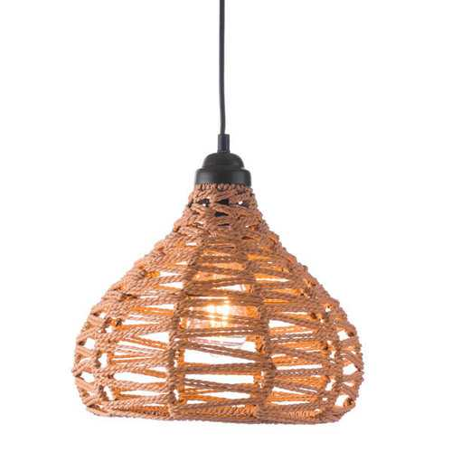 """11.8"""" X 11.8"""" X 129.5"""" Natural Synthetic Woven Painted Metal Ceiling Lamp"""