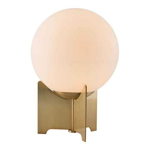 "16.5"" X 9.8"" X 27.2"" White And Brushed Bronze Frosted Glass Table Lamp"