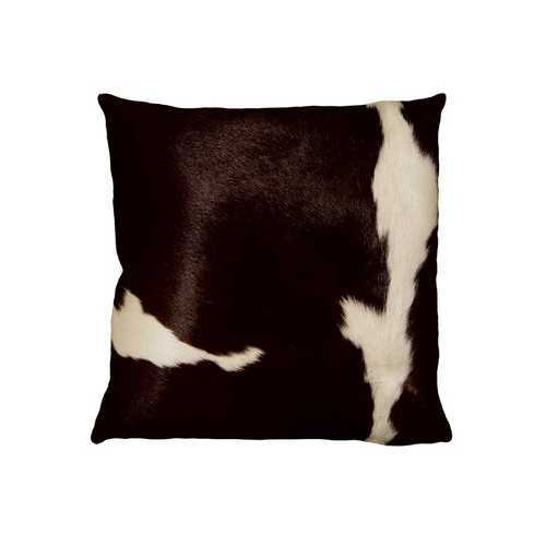 """18"""" X 18"""" X 5"""" Chocolate And White Cowhide Pillow"""