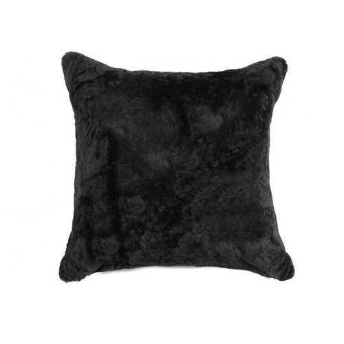 "18"" X 18"" X 5"" Black Sheepskin Pillow"