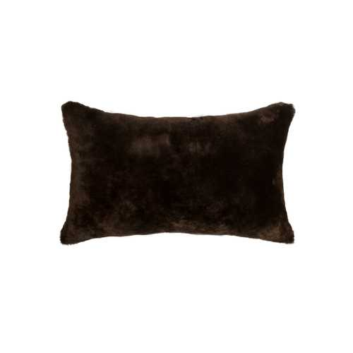 "12"" X 20"" X 5"" Chocolate Sheepskin Pillow"