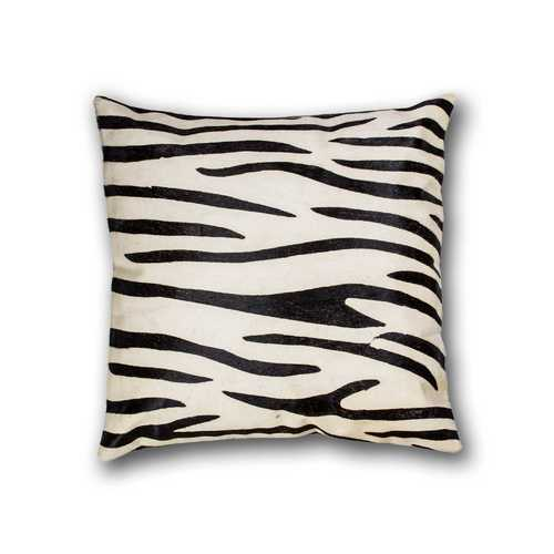 """18"""" X 18"""" X 5"""" Black And White Cowhide Pillow"""