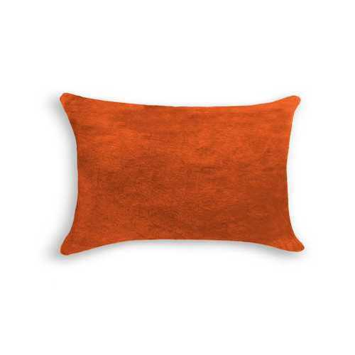"12"" X 20"" X 5"" Orange Cowhide Pillow"