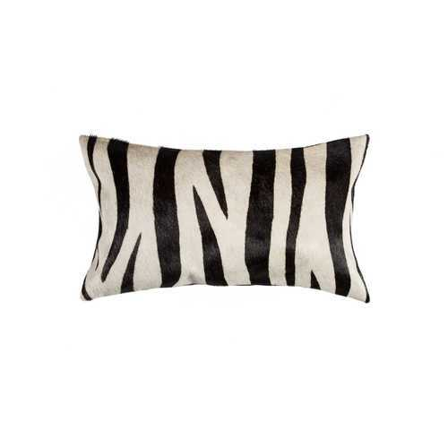 "12"" x 20"" x 5"" Zebra Black On Off White Cowhide - Pillow"